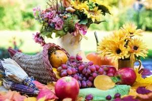 Basket of thanksgiving foods