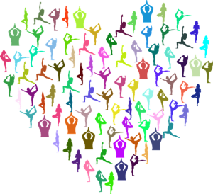 people exercising in the shape of a heart