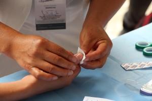 finger prick by nurse